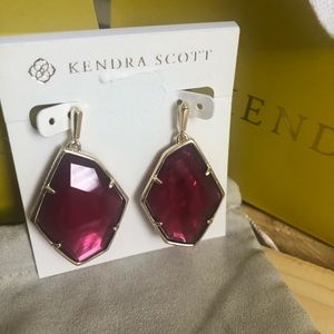 New Kendra Scott Earrings, Large Berry colored